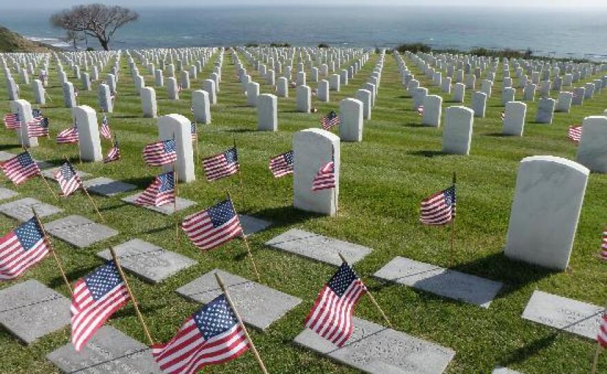 Small flags are placed at each grave site in honor of Memorial Day at Fort Rosecrans National Cemetery.
