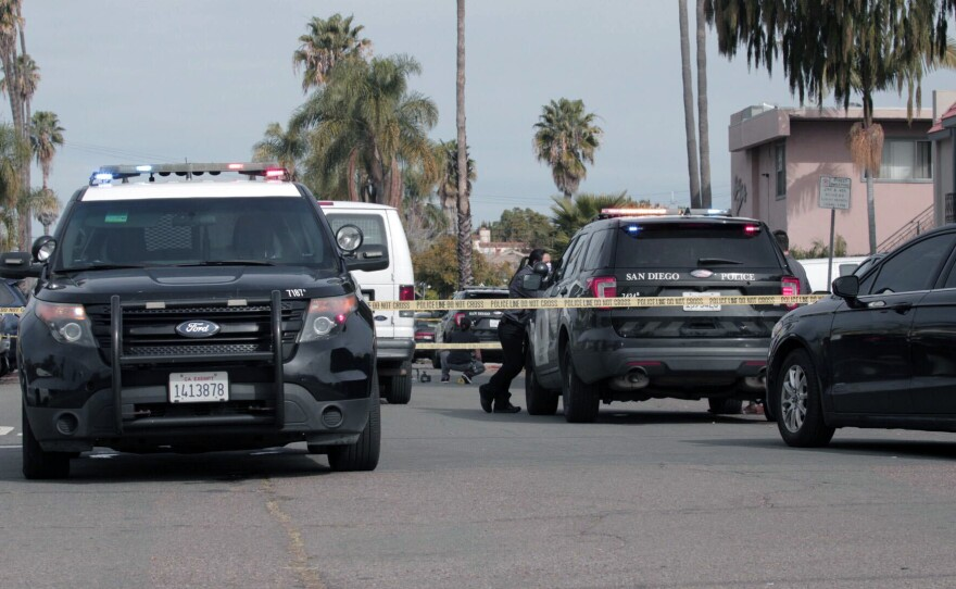 Police block Kansas Street in the North Park neighborhood of San Diego after a man was fatally shot, Feb. 1, 2021.