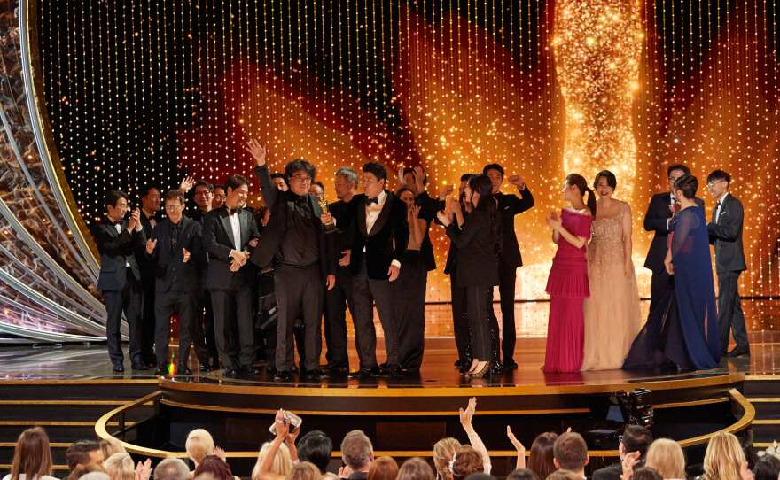 """The cast and crew of """"Parasite"""" accept the Oscar® for Best Picture during the live ABC Telecast of The 92nd Oscars® at the Dolby® Theatre in Hollywood, CA on Sunday, February 9, 2020."""