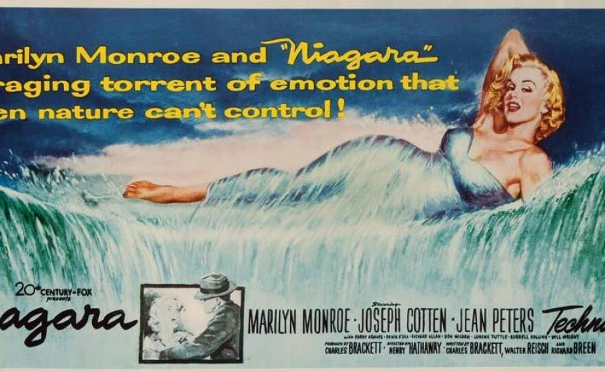 """This lobby card art for the film """"Niagara"""" shows Marilyn Monroe as a force of nature as strong as Niagara Falls."""