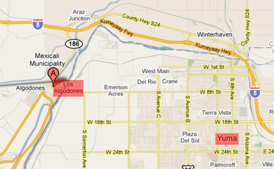 Los Algodones, Mexico is located approximately 10 miles from Yuma, Arizona.