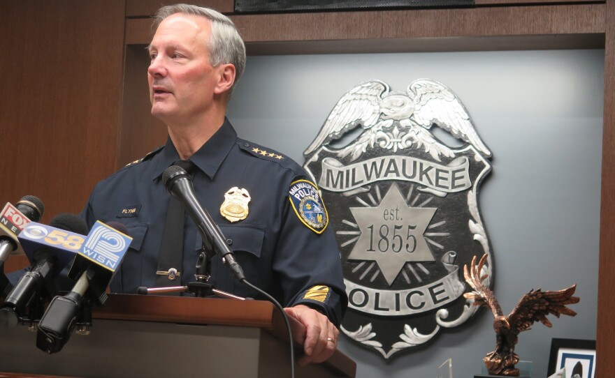 Retired Milwaukee Police Chief Edward Flynn, pictured here at a press conference in 2015, presided over the city's police department during the period when the ACLU alleges it stopped over 350,000 people without reasonable suspicion.