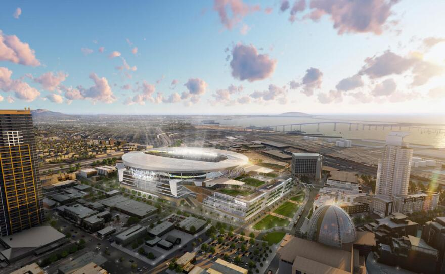 An undated illustration of a proposed Chargers stadium in downtown San Diego.