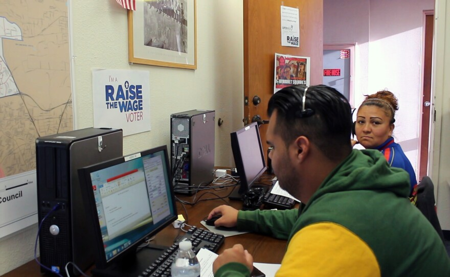 Volunteers with the Center on Policy Initiatives make calls to voters urging them to support Proposition I, April 27, 2016.