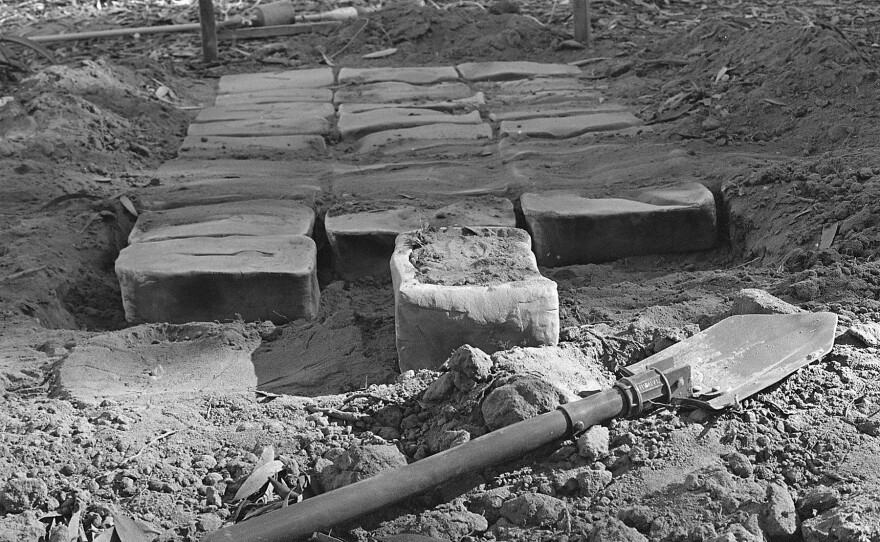 """Thirty Blocks"" 1976 installation in progress. Photo by Blaise Tobia."
