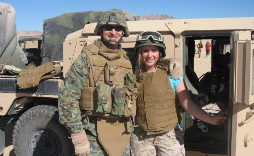 Kristine Schellhaas poses with her husband, Maj. Ross Schellhaas, at Marine Corps Air Ground Combat Center Twentynine Palms in this undated photo.