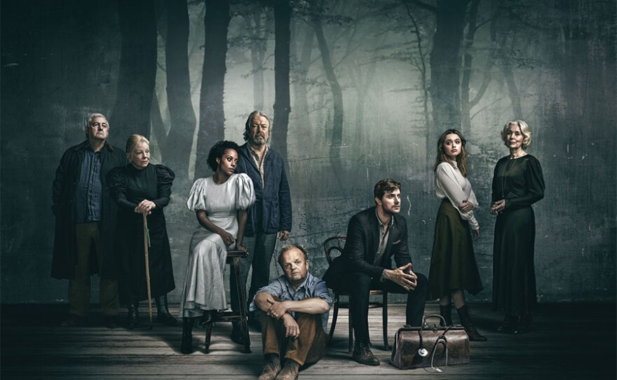 """The cast of """"Uncle Vanya."""" Recorded in August 2020 from the Harold Pinter Theatre in London after the production's sold-out run closed early due to the coronavirus pandemic, the play is directed by Ian Rickson and directed for screen by Ross MacGibbon. Starring Toby Jones in the title role and Richard Armitage as Astrov, the cast also features Rosalind Eleazar as Yelena, Aimee Lou Wood as Sonya, Anna Calder Marshall as Nana, Dearbhla Molloy as Mariya, Roger Allam as Serebryakov and Peter Wight as Telegin."""