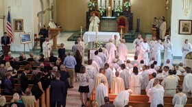 The funeral for Father Joe Carroll at St. Rita's Catholic Church in San Diego, Calif. July 20, 2021.