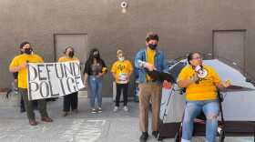 Activist protest San Diego Mayor Todd Gloria's proposal to increase the police budget. May 25, 2021