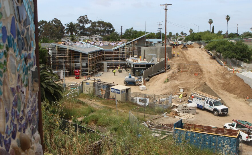 A view from a community park overlooks construction of Ocean Discovery Institute's Living Lab near Manzanita Canyon in San Diego's City Heights neighborhood, April 24, 2017.