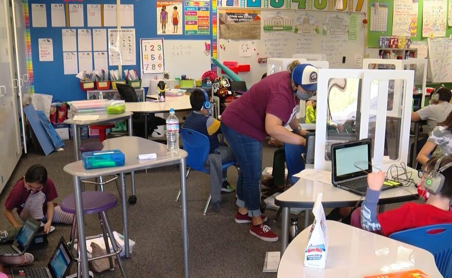 Inside of a classroom at Bostonia Language Academy in El Cajon, March 19, 2021.