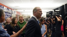 Kevin Faulconer, former San Diego mayor and Republican candidate for governor of California, greets supporters during a news conference after polls closed in the recall election Tuesday, Sept. 14, 2021, in San Diego.
