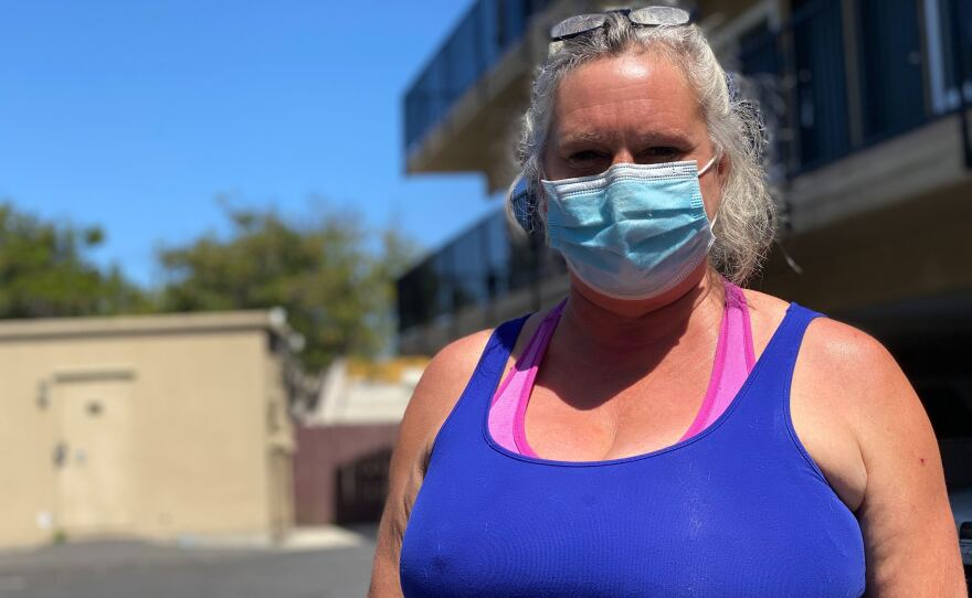 Lory Buck had been homeless for eight years before she was put up in a motel through a homeless nonprofit organization. At the onset of the pandemic, she says she was frightened, May 28, 2020.