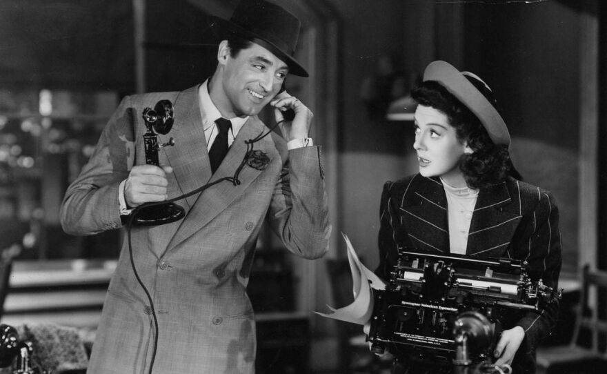 """Cary Grant and Rosalind Russell square off in Howard Hawks' """"His Girl Friday."""" (1940)"""
