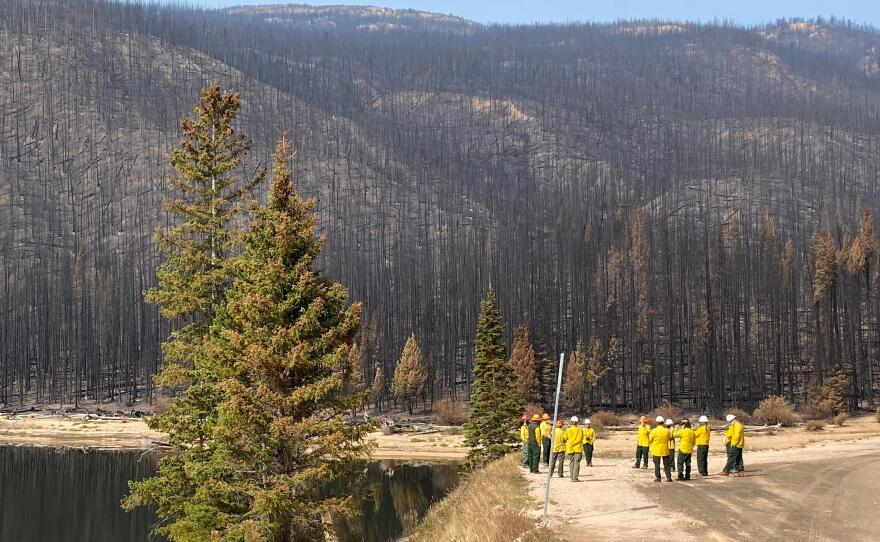 In this Oct. 2020 photo, members of an assessment team put together by the U.S. Forest Service are beginning to gather initial information about the Cameron Peak Fire's intensity, which will affect water quality for years.