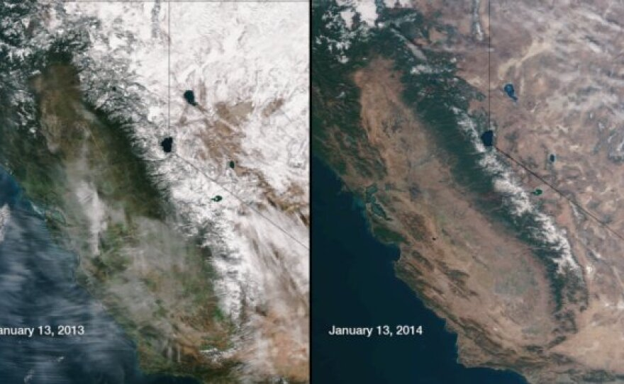 The photo on the left from Jan. 13, 2013 shows more green vegetation in central and southern California compared to the photo on the right from Jan. 13, 2014.