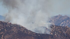 A brush fire burning in Lakeside. 10/06/13  Credit: Milan Kovacevic