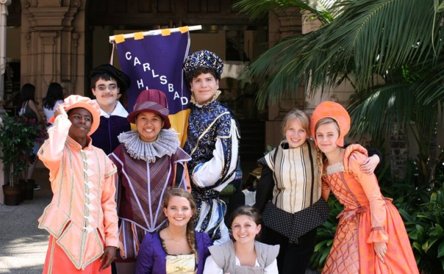 The ensemble cast from Carlsbad High at the 2011 San Diego Student Shakespeare Festival in Balboa Park.