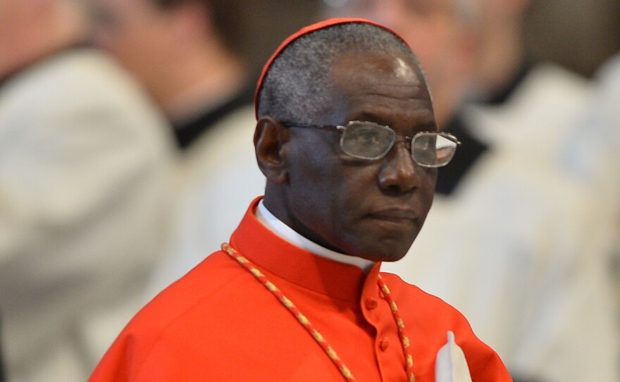 Cardinal Robert Sarah attends a mass at the St Peter's Basilica on March 12, 2013 at the Vatican. The Holy See Press Office announced that Sarah stepped down from his leadership position.