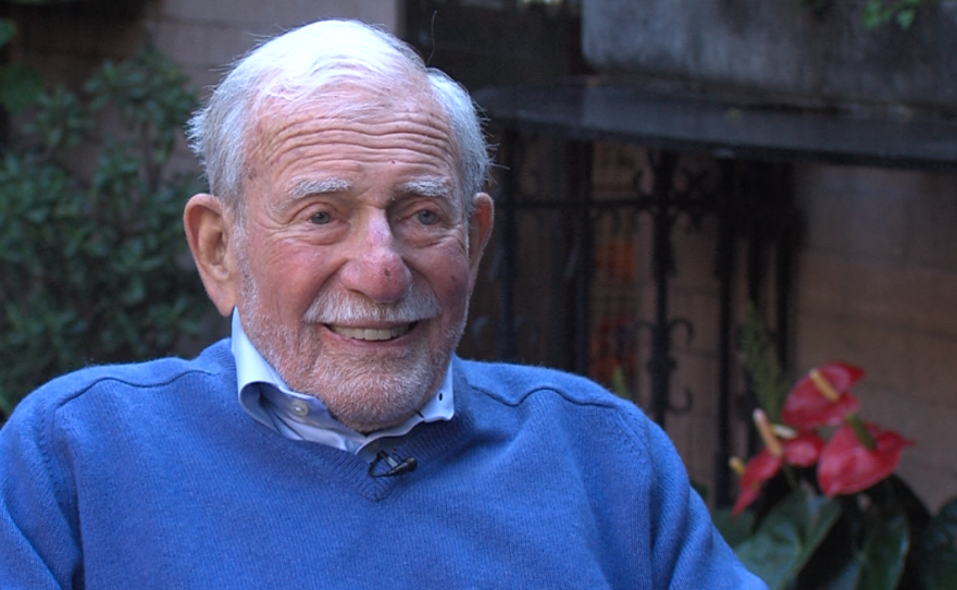 Walter Munk, Scripps Institution of Oceanography researcher, smiles during an interview, Oct. 12, 2017.