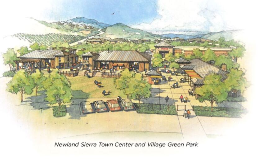 An artists rendering of the proposed Newland Sierra Town Center in North County is shown in this undated image.