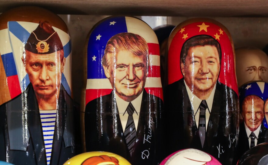 Russian dolls with the likenesses of Russia's President Vladimir Putin, President Trump and China's President Xi Jinping for sale in at a gift shop in St. Petersburg, Russia, last month. While many world leaders have congratulated President-elect Biden, Russia and China have conspicuously held off.
