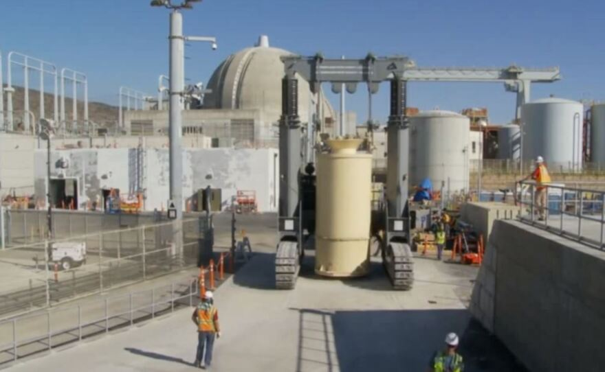 Spent nuclear fuel being moved inside giant canisters from cooling pools to dry cask storage on site at San Onofre, March 2018.