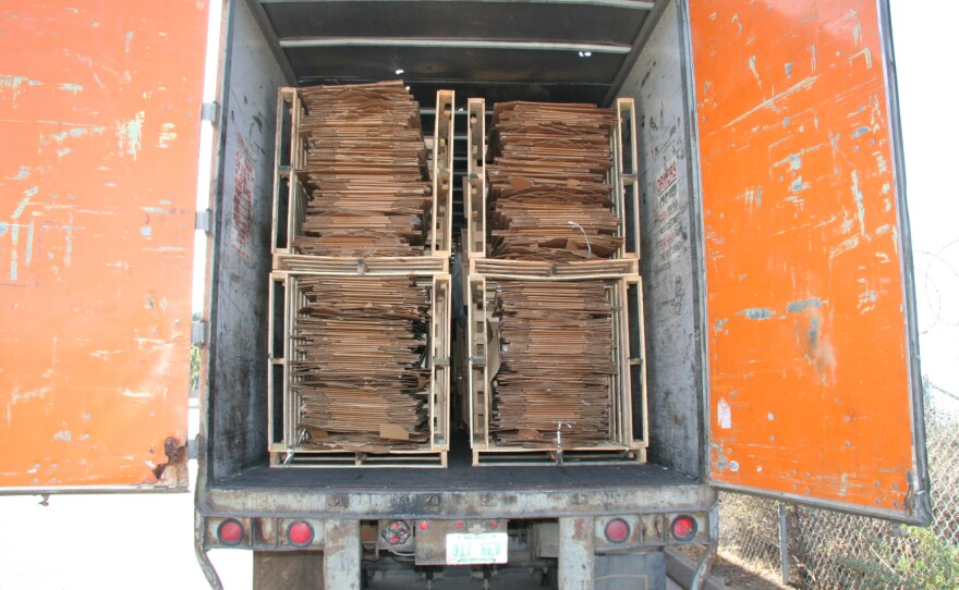 A truck container filled with bailed cardboard is pictured in this undated photo.