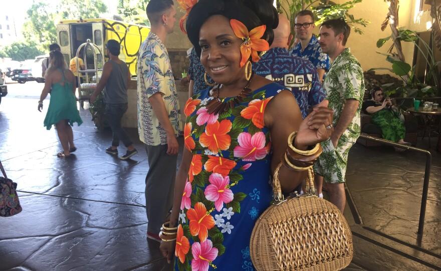 Elena Leblanc, from San Diego, poses for a photo at Tiki Oasis, Aug. 12, 2017.