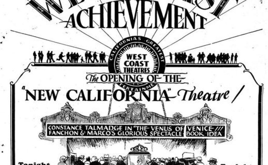 """An advertisement for the 1927 grand opening of the California Theatre. """"The Venus of Venice,"""" a black and white silent film, was the first movie shown at the theater."""