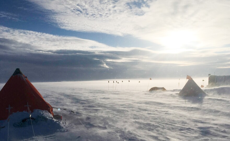 A storm on the Thwaites Ice shelf in Antarctica in this undated photo.