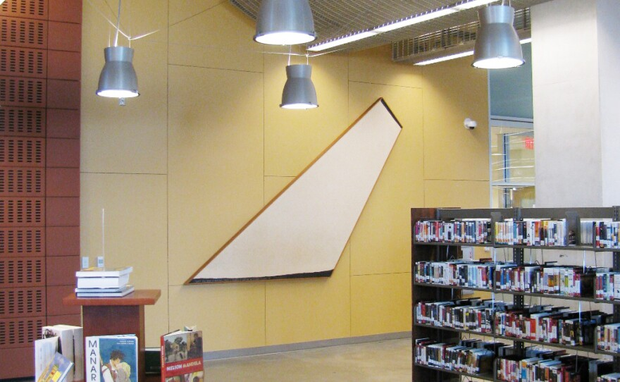 """This painting by Russell Baldwin is on the first floor of the central library. It's from 1973 and titled, """"When You Make A Painting There Is Always A Sort Of Necessary Filling-In."""" San Diego Public Library Visual Arts Program Acquisition, City of San Diego Civic Art Collection 2013.134."""