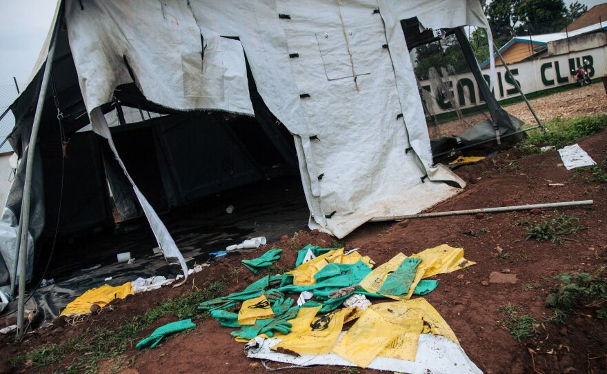 Protective equipment for Ebola care is left on the ground next to ransacked tents by demonstrators at the Ebola transit centre in Beni, following a demonstration last week against the postponement of elections in the territory of the Beni and the city of Butembo.
