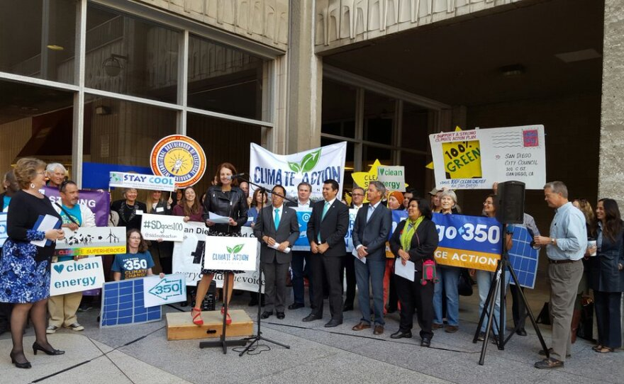 Environmental leader Nicole Capretz speaks at a rally in advance of the San Diego City Council's Climate Action Plan vote, Dec. 15, 2015.