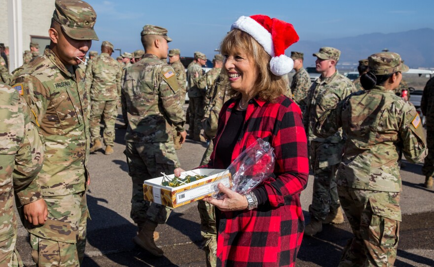 Rep. Jackie Speier, D-Calif., meets service members assigned to Special Purpose Marine Air-Ground Task Force 7 during a visit to the U.S.-Mexico border in San Diego, Dec. 24, 2018.