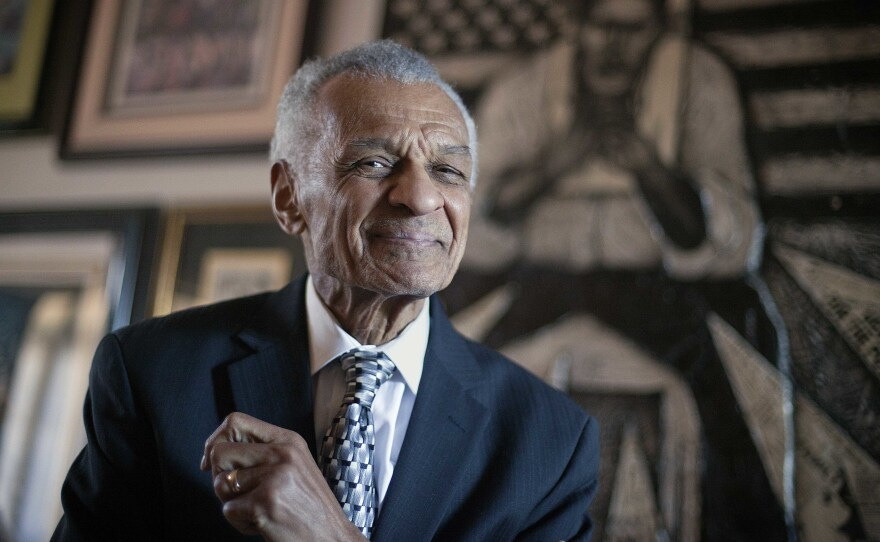 The Rev. C.T. Vivian, seen in a 2012 portrait at his Atlanta home, has died at the age of 95.