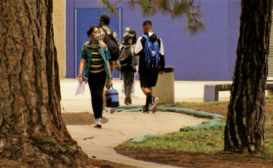 Students at Mira Mesa High School continue to wear masks on campus indoors and outside since the first day of the fall semester, August 30, 2021.