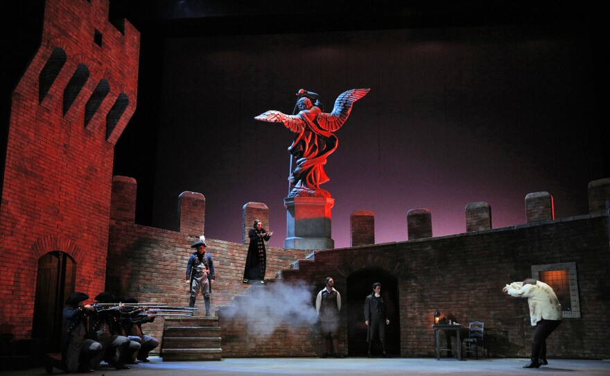 """The impressive Act Three set for San Diego Opera's """"Tosca"""" featuring Alexia Voulgaridou in the title role."""
