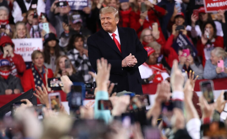 President Trump attended a rally in support of Republican Sens. David Perdue and Kelly Loeffler on Saturday, in Valdosta, Ga., ahead of a crucial runoff election that will decide who controls the U.S. Senate.