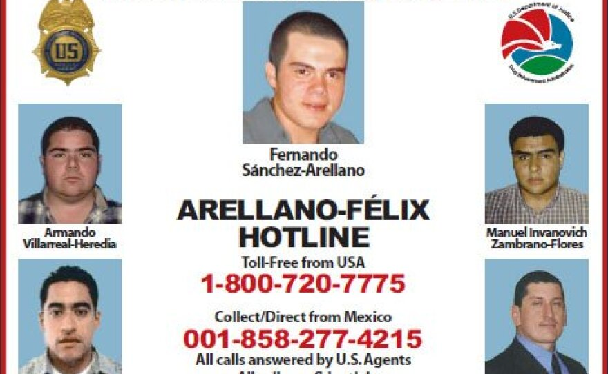 A poster released by the U.S. Drug Enforcement Administration in 2009 seeks information related to the Arellano-Felix organization.