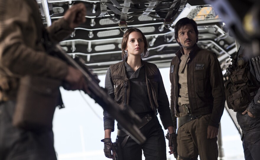 """Felicity Jones and Diego Luna star as rebel fighters trying to steal the plans of the Death Star in """"Rogue One: A Star Wars Story."""""""