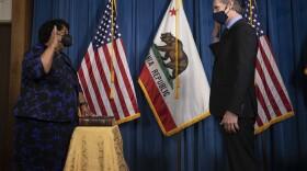 Shirley Weber being sworn in as California Secretary of State by Gov. Gavin Newsom on Jan. 29, 2021.