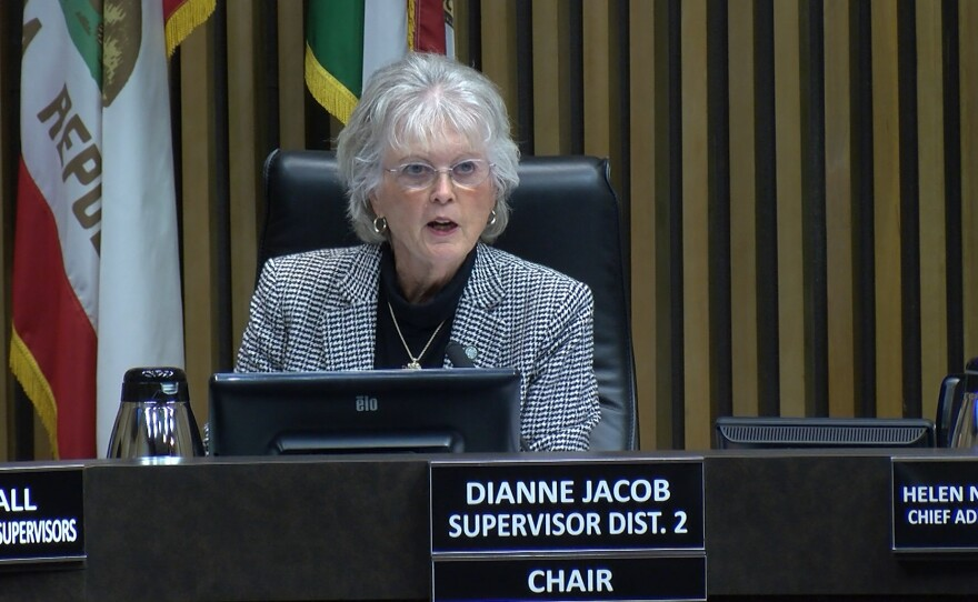 County Supervisor Dianne Jacob talks during a meeting in downtown San Diego, Jan. 8, 2019.