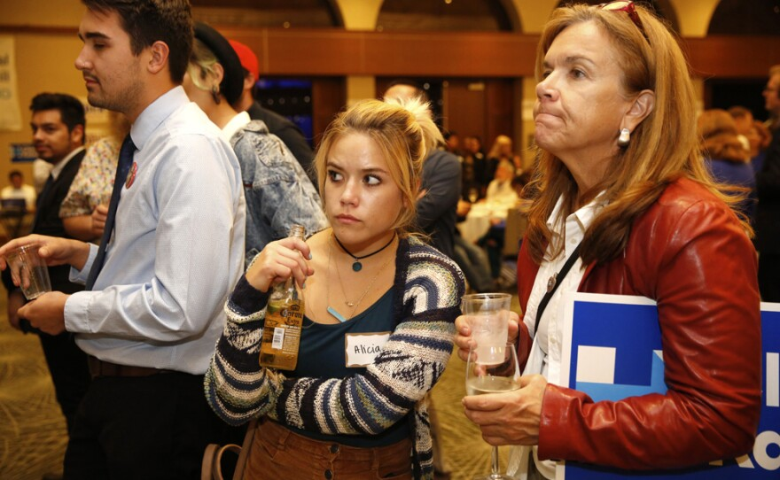 San Diegans at a Democratic watch party react to early election results that show Republican presidential candidate Donald Trump leading, Nov. 8, 2016.