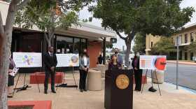 San Diego County District Attorney Summer Stephan speaks at a press conference in front of the juvenile courthouse. May 20, 2021