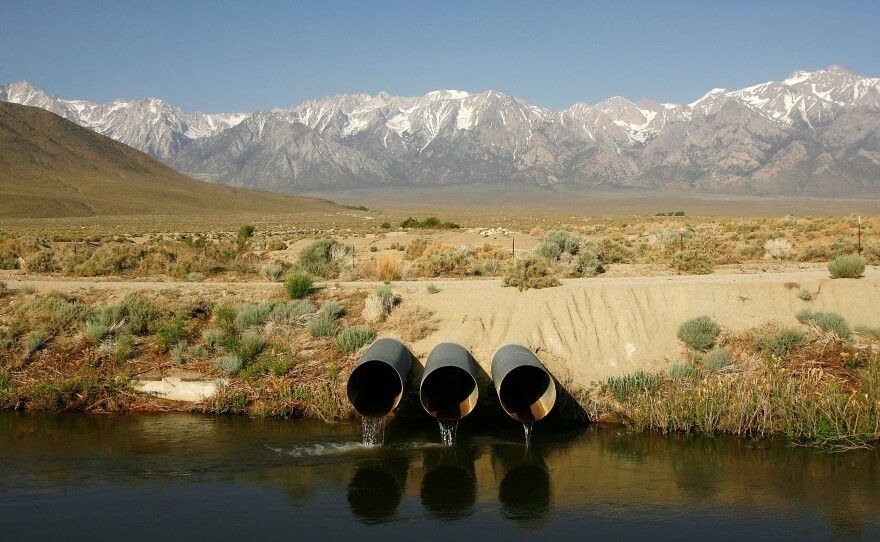 This photo shows pipes conveying water pumped from the Colorado River at the Metropolitan Water District of Southern California's Whitsett Intake Pumping Plant near Parker Dam, California, Oct. 15, 2015.
