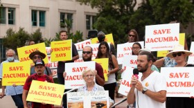 Jeffrey Osborne rallies with residents of Jacumba Hot Springs outside of the  San Diego County Administration Building ahead of a vote on the approval of a permit for a proposed solar project in the town, Aug. 17, 2021.