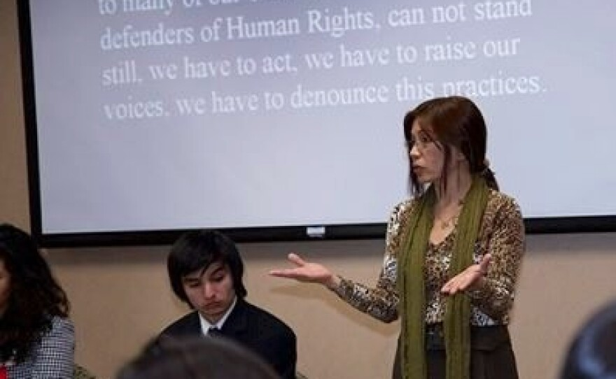 Kcomt gives a presentation on children's rights and human trafficking at the University of San Diego.