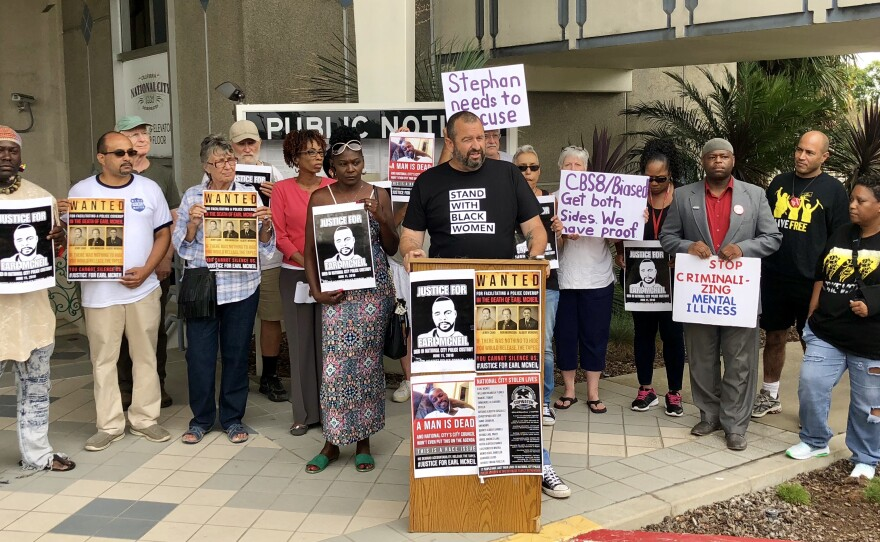 National City community members and activists gather outside of National City's city hall to call for the San Diego County District Attorney's Office to recuse itself from the Earl McNeil investigation, August 15, 2018.