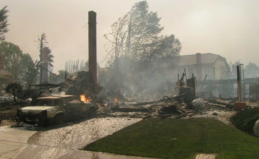 The remnants of a Rancho Bernardo home burned down in the 2007 wildfires, Oct. 30, 2007.